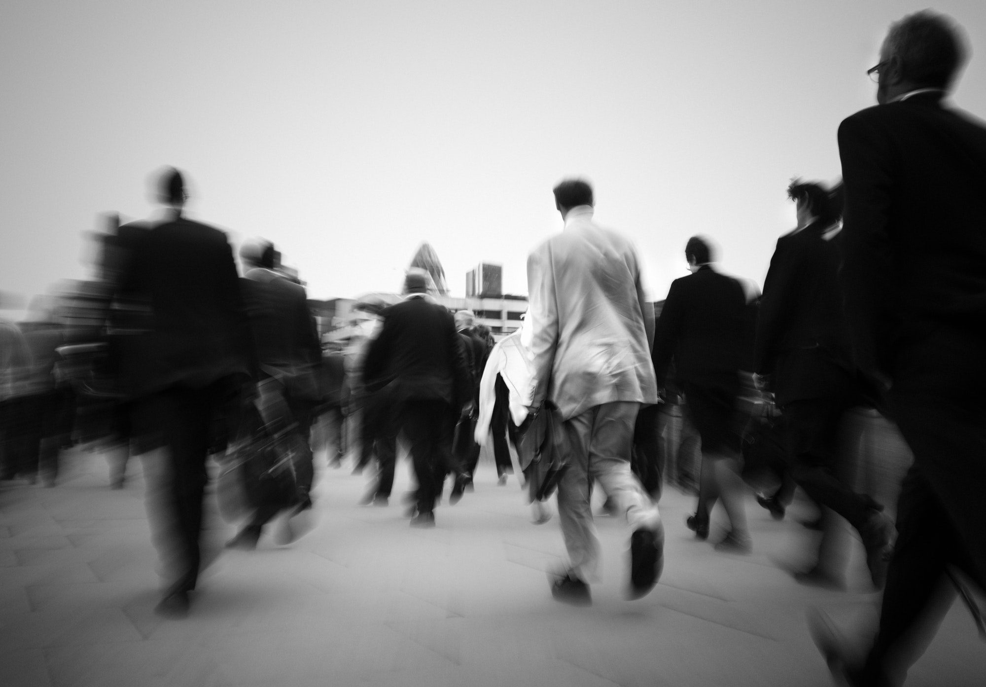Crowd Of Businessmen On Their Way To Work