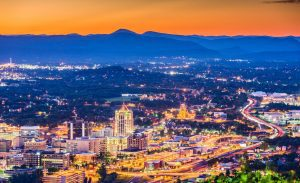 Roanoke, Virginia, USA downtown skyline at dusk.