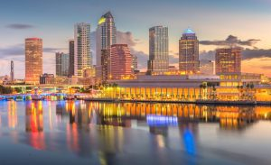 Tampa, Florida, USA downtown skyline on the bay at dawn.